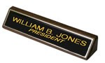 "2"" x 10"" Black Brass nameplate on Wood Block"