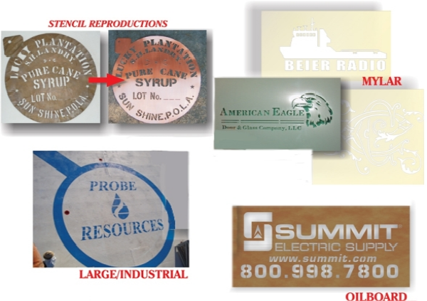 Brass Stencils, Mylar Stencils, Oil Board Stencils, Large Industrial Stencils
